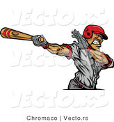 Vector of a Baseball Player Swinging a Wooden Bat at Ball by Chromaco