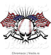 Vector of a Baseball with 2 American Flags and a Banner with Stars by Chromaco