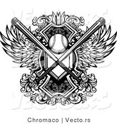 Vector of a Baseball with Crossed Bats and Home Base Plate over a Winged Shield - Black and White by Chromaco