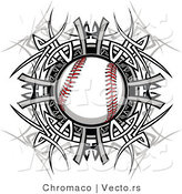 Vector of a Baseball Within Tribal Design by Chromaco