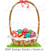 Vector of a Basket Full of Decorated Easter Eggs by BNP Design Studio