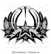 Vector of a Basketball Lotus Icon - Grayscale by Chromaco