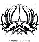 Vector of a Basketball Lotus with Stars - Black and White Line Drawing by Chromaco