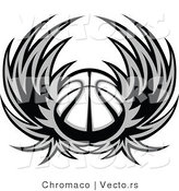 Vector of a Basketball with Wings - Grayscale by Chromaco