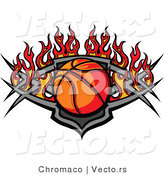 Vector of a Basketball Within a Flaming Tribal Shield Plate by Chromaco