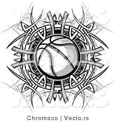 Vector of a Basketball Within Black and White Tribal Design by Chromaco