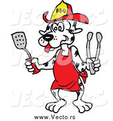 Vector of a BBQ Dalmatian Dog Wearing an Apron and Holding a Spatula and Tongs by LaffToon