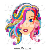 Vector of a Beautiful Blue Eyed White Woman with Colorful Hair by BNP Design Studio