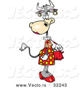 Vector of a Beautifull Skinny Cow Wearing Dress While Carrying a Purse - Cartoon Design by Toonaday