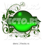 Vector of a Beveled Blank Green Text Box with Green Vines Border by Dero