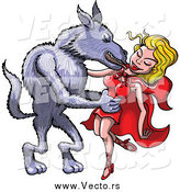 Vector of a Big Bad Wolf Taking Red Riding Hood into His Arms and Kissing Her by Zooco