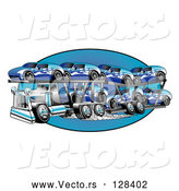 Vector of a Big Rig Transporting New Blue Cars by Andy Nortnik