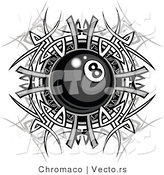 Vector of a Billiards Eight Ball over Metallic Tribal Design by Chromaco