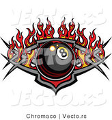 Vector of a Billiards Eight Ball over Tribal Design with Flames by Chromaco