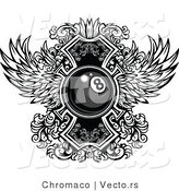 Vector of a Billiards Eight Ball with Ornate Wings Design - Black and White by Chromaco