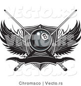 Vector of a Billiards Number Eight Ball with Pool Sticks over Wings and Blank Banner by Chromaco