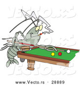 Vector of a Billiards Playing Crawdad - Cartoon Style by Toonaday