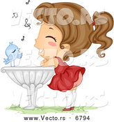 October 11th, 2016: Vector of a Bird Serenading a Happy Young Girl Leaning on a Bird Bath - Cartoon Style by BNP Design Studio