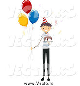 Vector of a Birthday Boy with a Cake and Party Balloons by BNP Design Studio
