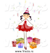 Vector of a Birthday Girl Posing with Presents by BNP Design Studio