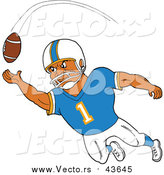 October 7th, 2015: Vector of a Black American Football Player Receiver Catching a Ball by LaffToon