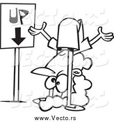 Vector of a Black and White Confused Woman by an up down Sign by Ron Leishman