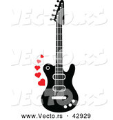 Vector of a Black and White Electric Guitar with Red Love Hearts by Zooco