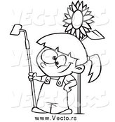 Vector of a Black and White Gardening Girl by a Sunflower by Toonaday
