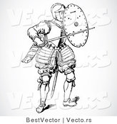 Vector of a Black and White Historic Knight with a Shield and Sword by BestVector