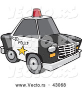 Vector of a Black and White Police Car with a Red Siren on the Roof by Toonaday