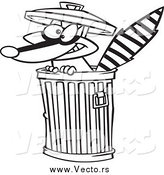Vector of a Black and White Raccoon in a Trash Can by Toonaday
