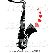 Vector of a Black and White Saxophone with Playing Musical Love Hearts by Zooco