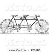 Vector of a Black and White Tandem Bicycle by BestVector