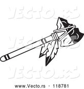 Vector of a Black and White Tomahawk with Feathers by Johnny Sajem