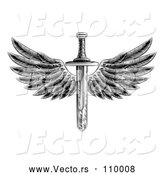 Vector of a Black and White Winged Sword by AtStockIllustration