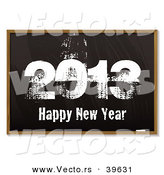 Vector of a Black Board Background with Grungy 2013 Happy New Year in Chalk by Michaeltravers