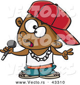 Vector of a Black Cartoon Boy Rapper Holding a Microphone by Ron Leishman