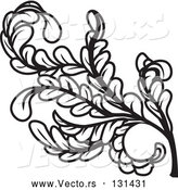 Vector of a Black Curly Branch of Leaves and Stems by AtStockIllustration