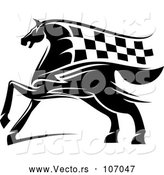 Vector of a Black Horse with a Checkered Racing Flag Mane by Vector Tradition SM