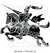 Vector of a Black Knight Jousting with Love Hearts by Zooco