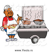 Vector of a Black Male Chef Brushing BBQ Sauce over Meat on a Grill by LaffToon