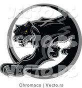 Vector of a Black Panther Walking Through a Circle Icon by Chromaco