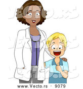 Vector of a Black Pediatrician Doctor Standing Beside a Healthy Happy White Boy - Cartoon Style by BNP Design Studio