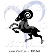Vector of a Black Ram over a Blue Aries Astrological Sign of the Zodiac by AtStockIllustration