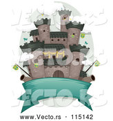 Vector of a Blank Banner Under a Medieval Castle with Flags and Cannons by BNP Design Studio