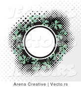 Vector of a Blank Circle Within Green Vines on a Dotted Background by Arena Creative
