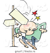 Vector of a Blank Direction Street Sign Injuring a Cartoon Guy on the Head by Gnurf
