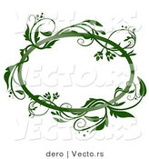 Vector of a Blank Oval Frame with Green Vines by Dero