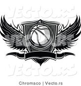 Vector of a Blank Winged Basketball Banner over Shield - Black and White by Chromaco