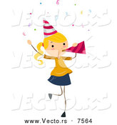 August 17th, 2015: Vector of a Blond Birthday Girl Blowing a Party Horn by BNP Design Studio